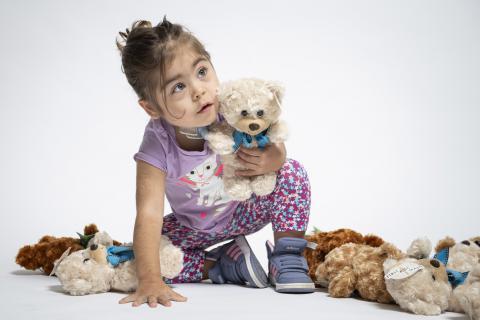 Athena with teddy bears