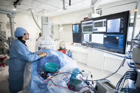 Kingston General Hospital new electrophysiology (EP) lab, the first in Ontario to use a GPS-like technology during cardiac procedures called MediGuide.