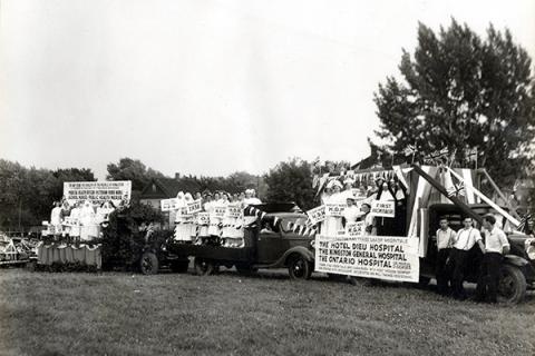 Kingston's three hospitals partnered with other members of the local health care community to form a collective entry during the City of Kingston's Centennial parade in August 1938.