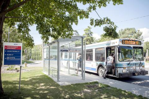 A Kingston Transit bus stops at one of the new shelters outside of KGH
