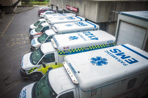Ambulances parked at the offload ramp of KGH emergency department.