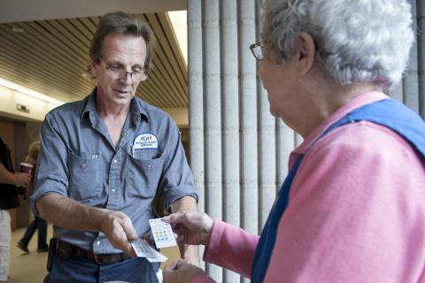 Auxiliary member sells HELPP lottery tickets