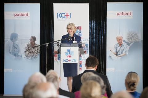 CEO Leslee Thompson has been with KGH since February 2009. She is pictured here welcoming staff and the community at our hospital's 175th Anniversary celebration back in September 2013.