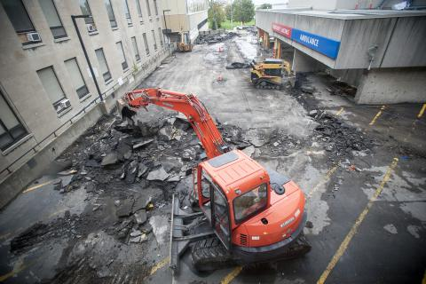 Construction crews remove the pavement from the KGH emergency ramp