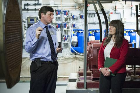 KGH Manager of Plant Operations & Maintenance Gary Greene and MPP Sophie Kiwala tour a mechanical room