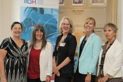 From left: Donna Segal, chair of the South East Local Health Integration Network, Sophie Kiwala MPP for Kingston and the Islands, Leslee Thompson President and CEO at Kingston General Hospital, Krista Wells Pearce director of redevelopment and planning at Hotel Dieu and Cathy Szabo, president and CEO of Providence Care