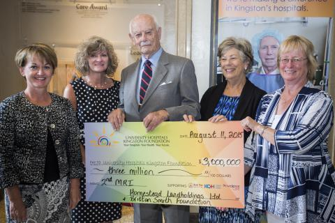 Susan Creasy, UHKF Campaign Chair (R) accepts a $3 million cheque from Francine Moore, President Homestead Land Holdings, Kathryn Mellon, Board of Directors Britton Smith Foundation, Brit Smith, Executive Chairman, Homestead Land Holdings and Sheila Bayne, Board of Directors Britton Smith Foundation
