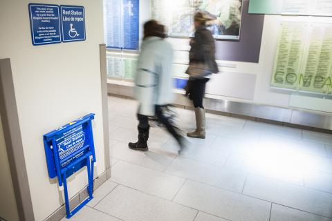 KGH is the first Canadian hospital to purchase and install 12 resting stations to assist people who need a pause while travelling our many long hallways.