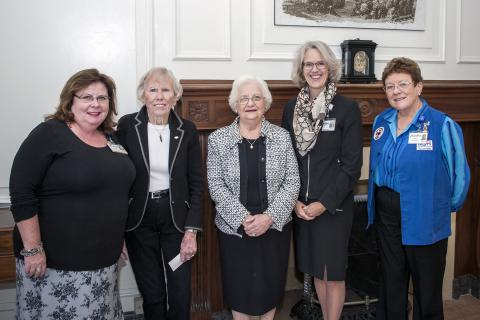 (From left) VP People Services and Organizational Effectiveness Shannon Graham, Volunteer Marion Atack, Volunteer Shirley Abramsky, CEO Leslee Thompson and Auxiliary President Jennie Raymond at a special service recognition event
