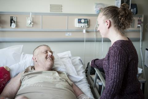 Don Scullion relies on the presence of his wife around the clock to support him during his stay in our hospital.