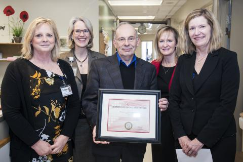 Assistant Deputy Minister Susan Fitzpatrick (right) from the Ministry of Health and Long-Term Care presented the Certificate of Accreditation to KGH. (From left) Colleen Londry, Chief  Sonographer, CEO Leslee Thompson, Dr. Anthony Sanfilippo and Julie Caffin, Program Operational Director, Cardiac and Emergency.