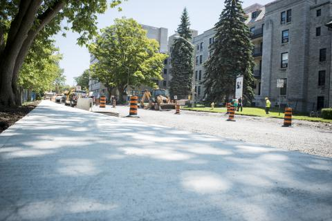 The overall project includes new sidewalks on the north side of Stuart Street.