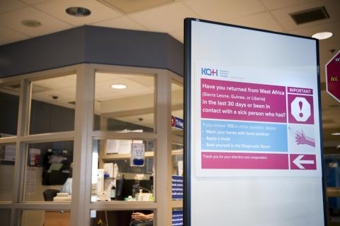 New signs in the Emergency Department to direct patients who may be at risk of having Ebola.