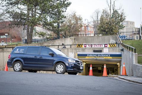 Underground parking garage entrance at Queen's University off Stuart Street.