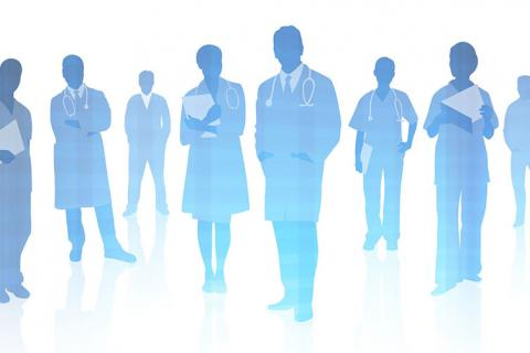 Silouette of healthcare workers