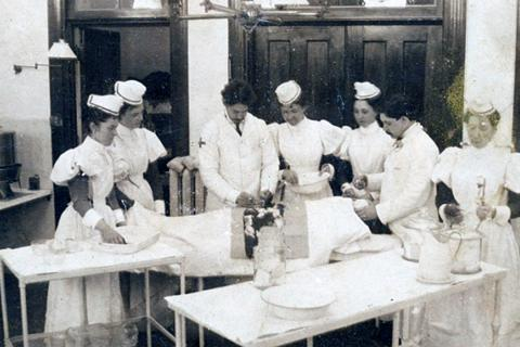 A mock scene of an operation in the Fenwick Operating Theatre. (c. 1896)