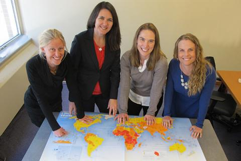 Drs. Eva Purkey, Heather Aldersey, Colleen Davison and Susan Bartels, co-PIs of the newly launched Queen Elizabeth Scholars Network for Equity in Maternal-Child Health