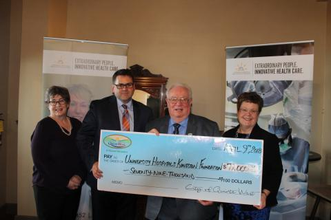 Mayor Harrison (second from right) presents a cheque on behalf of the municipality of Quinte West