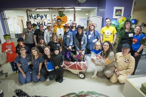 KHSC staff, physicians, patients and families show off their costumes on our pediatrics unit