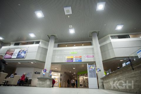 A view of the KGH main lobby showing the new, energy efficient LED light bulbs.