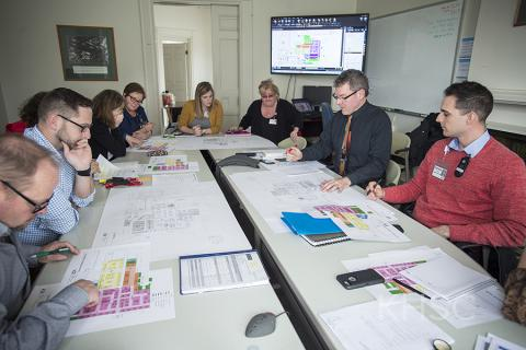 The Emergency Department working group studies plans for their new space
