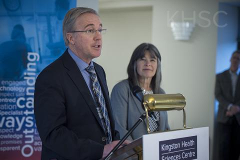 KHSC President and CEO, Dr. David Pichora, speaks to the media and guests during the announcement.