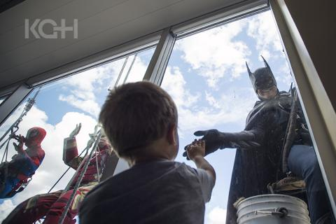 KGH kids see batman cleaning windows