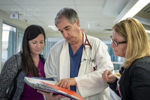 Dr. Baranchuk (centre) reviews the tool with nurses in KHSC's cardiac sciences unit