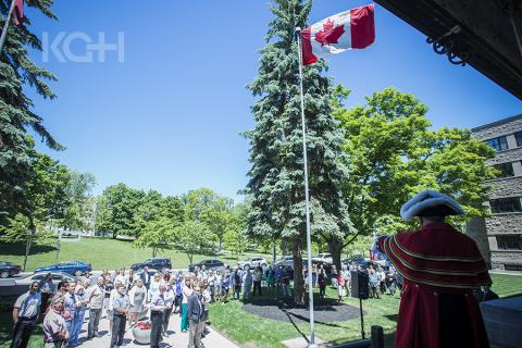 Kingston's Town Crier Chris Whyman kicks off KGH's commemoration of the 175 anniversary of the first parliament meeting
