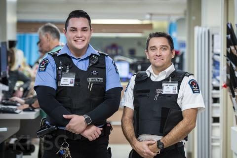 Security guard Jesse Hearon and shift supervisor Jeff Bolton are two of the six Protection Services team members who recently received a humanitarian award for their actions at KHSC.