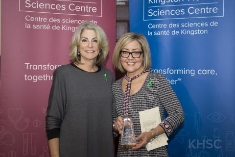 Trillium Gift of Life Network CEO Ronnie Gervais (L) presents the inaugural 'Advocates in Action' award to Shillane Labbett (R)