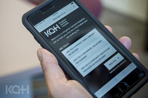 The new KGH Corporate Website on a mobile phone.