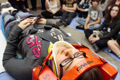 Students taking part recently in the P.A.R.T.Y. program at Sunnybrook Health Sciences Centre in Toronto.