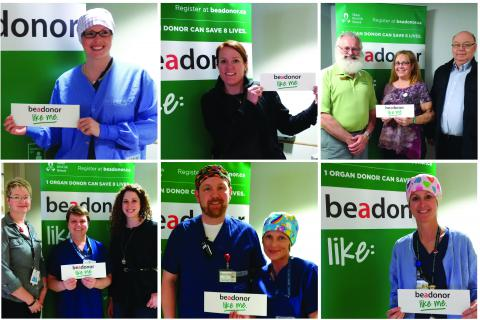 Share it on social media. Staff from across the hospital have been stopping to have their pictures snapped with the beadonor banner in the Atrium.
