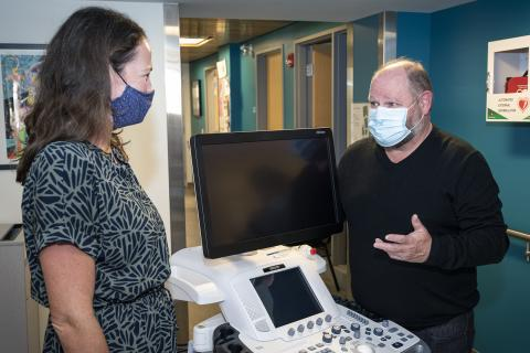 team members with ultrasound