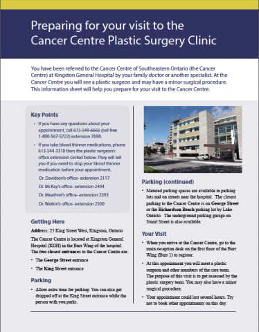 Preparing for your visit to the Cancer Centre Plastic Surgery Clinic