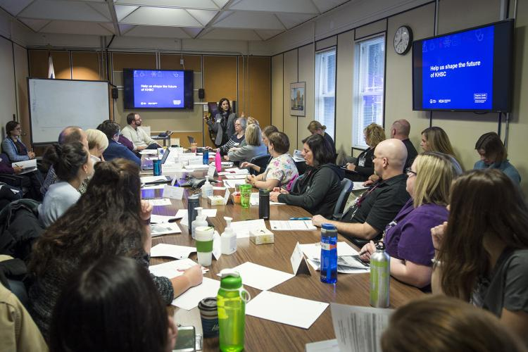 During a series of Open Forum presentations geared towards staff, everyone had the opportunity to contribute to what they thought were crucial elements to include in the mission, vision or values.