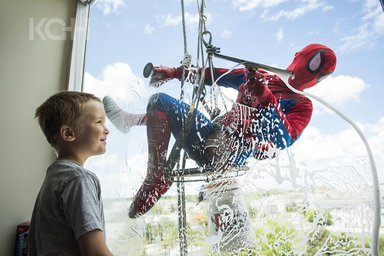 Spiderman makes a special appeareance on the exterior window of the pediatrics floor.
