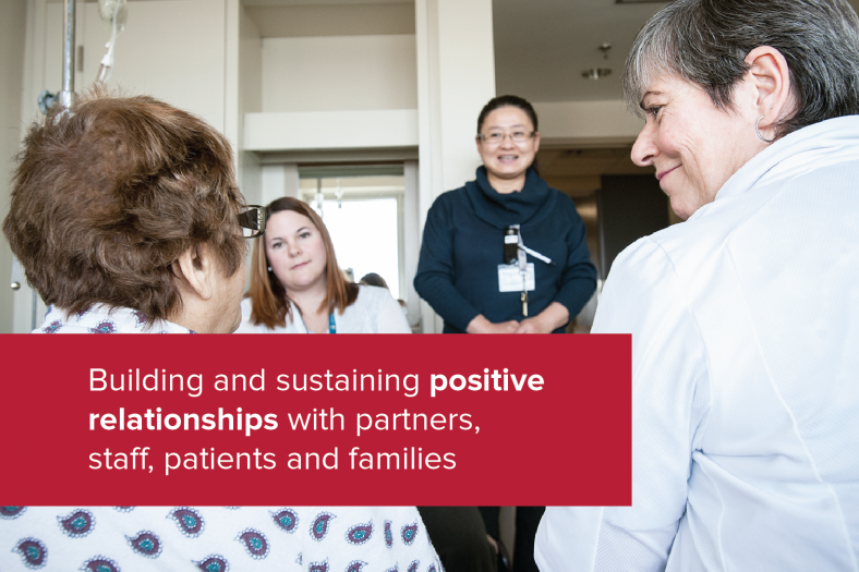 Building and sustaining positive relationships with partners, staff, patients and families.